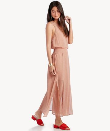 Astr Astr Women's Millie Dress In Color: Mauve Cream Dot Size Xs From Sole Society