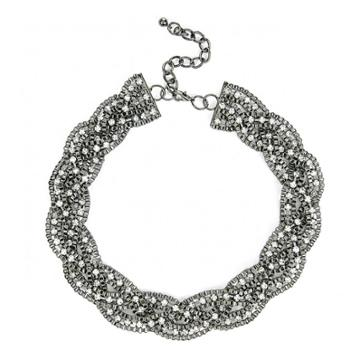Sole Society Sole Society Chain And Crystal Collar - Gunmetal