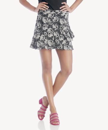 J.o.a. J.o.a. Overlapping Ruffled Mermaid Skirt - Black Embroidered-xs