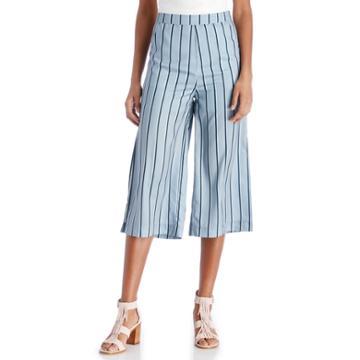J.o.a. J.o.a. Wide Leg Pants With Side Slit - Blue Stripe-xs