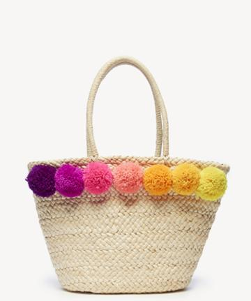 Sole Society Sole Society Klynn Tote Straw Tote W/ Poms - Natural-one Size