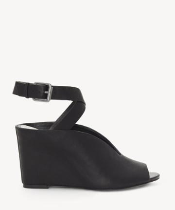 1. State 1. State Women's Felidia Peep Toe Wedges Sandals Black Size 5 Leather From Sole Society