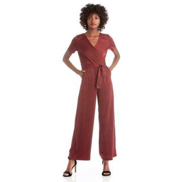 J.o.a. J.o.a. Short Sleeve Wide Leg Jumpsuit - Wine Multi-xs