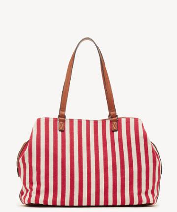 Sole Society Women's Millie Printed Over Tote Red White Stripe Faux Leather Woven Fabric From Sole Society