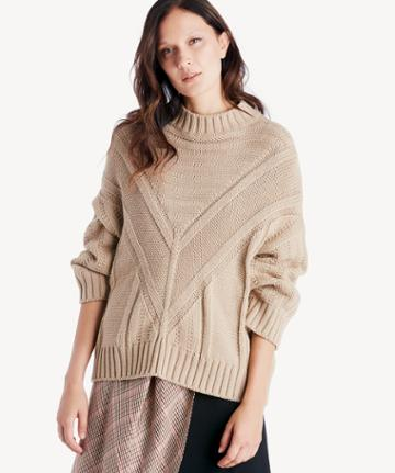 Moon River Moon River Women's Mock Neck Drop Shoulder Sweater In Color: Taupe Size Large From Sole Society