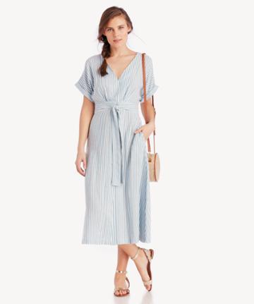J.o.a. J.o.a. Button Down Wrap Midi Dress