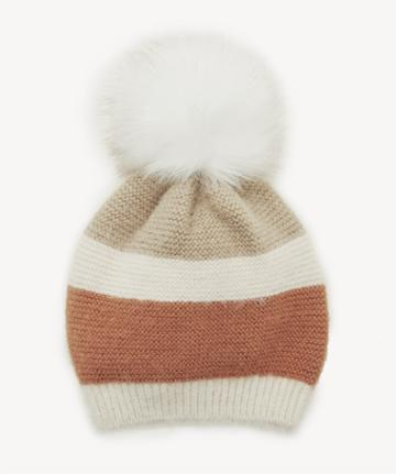 Sole Society Women's Colorblock Fuzzy Beanie Hat Withpom Rust One Size From Sole Society