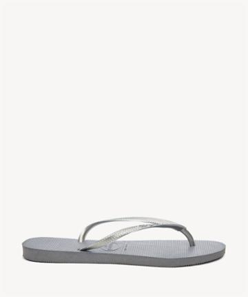 Havaianas Havaianas Women's Slim Solid Flip Flop In Color: Grey Flops Size 6 Rubber From Sole Society