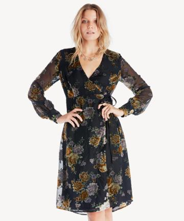 Astr Astr Women's Sonya Dress In Color: Black Mustard Floral Size Large From Sole Society