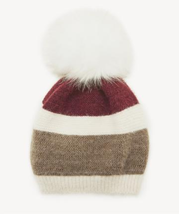 Sole Society Women's Colorblock Fuzzy Beanie Hat Withpom Burgundy One Size From Sole Society