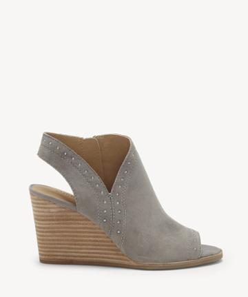 Lucky Brand Lucky Brand Women's Ulyssas Peep Toe Wedges Titanium Size 5 Suede From Sole Society