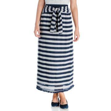 Moon River Moon River Contrast Waist Band Knit Skirt - Navy/ivory