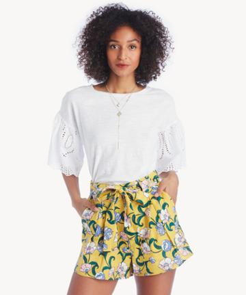 Vince Camuto Vince Camuto Ruffle Lace Eyelet Sleeve Tee