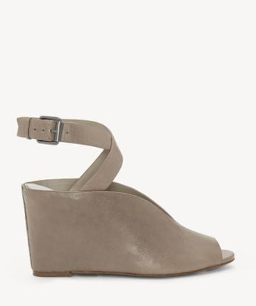 1. State 1. State Women's Felidia Peep Toe Wedges Sandals Pebble Size 5 Leather From Sole Society