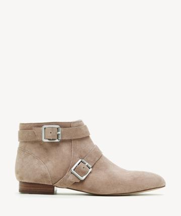 Sole Society Women's Melessie Buckle Bootie Dusted Taupe Size 5 Cow Split Suede From Sole Society