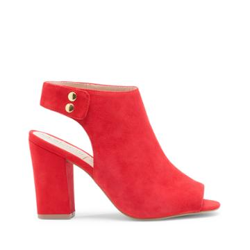 Sole Society Women's Easton Peep Toe Block Heels Red Size 5 Suede From Sole Society