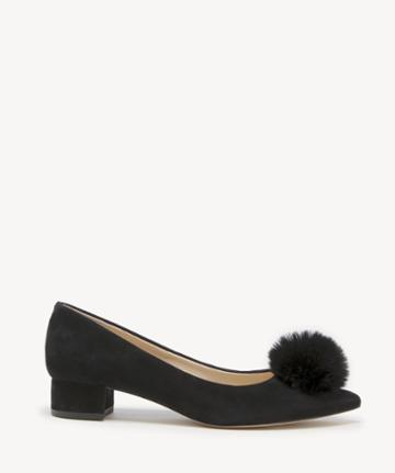 Sole Society Women's Mirem Pom Block Heels Pumps Black Size 5 Suede From Sole Society