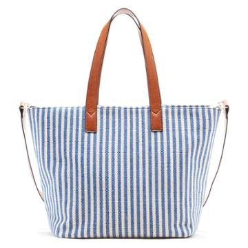 Sole Society Sole Society Linds Medium Fabric Tote - Blue/cream-one Size