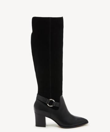 Sole Society Women's Daleena Tall Heeled Boots Black Size 5 Leather Suede From Sole Society
