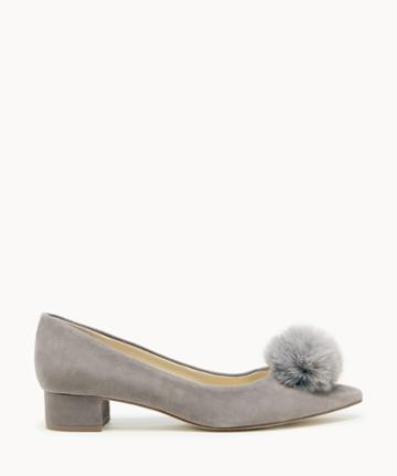 Sole Society Women's Mirem Pom Block Heels Pumps Porcini Size 5 Suede From Sole Society