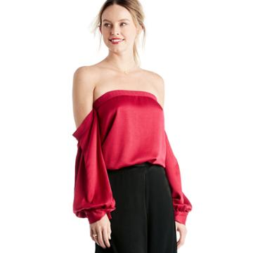 1. State 1. State Off Shoulder Voluminous Sleeve Blouse - Persian Red-xs