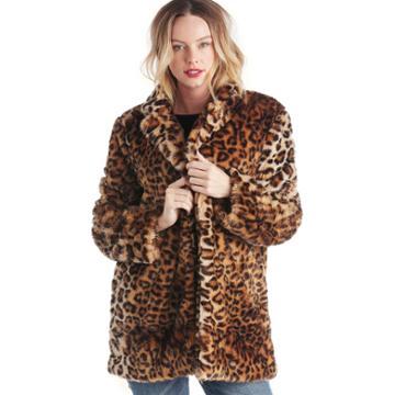 J.o.a. J.o.a. Leopard Print Faux Fur Coat - Leopard-s