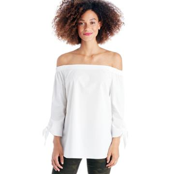 Cece Cece Off The Shoulder Bow Tie Blouse - Ultra White-xs