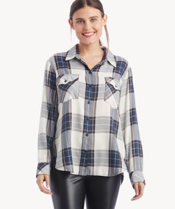 Sanctuary Sanctuary Women's Boyfriend For Life Shirt In Color: Human Nature Plaid Size Xs From Sole Society