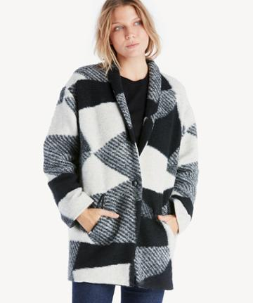Astr Astr Women's Brook Coat In Color: Black White Size Large From Sole Society