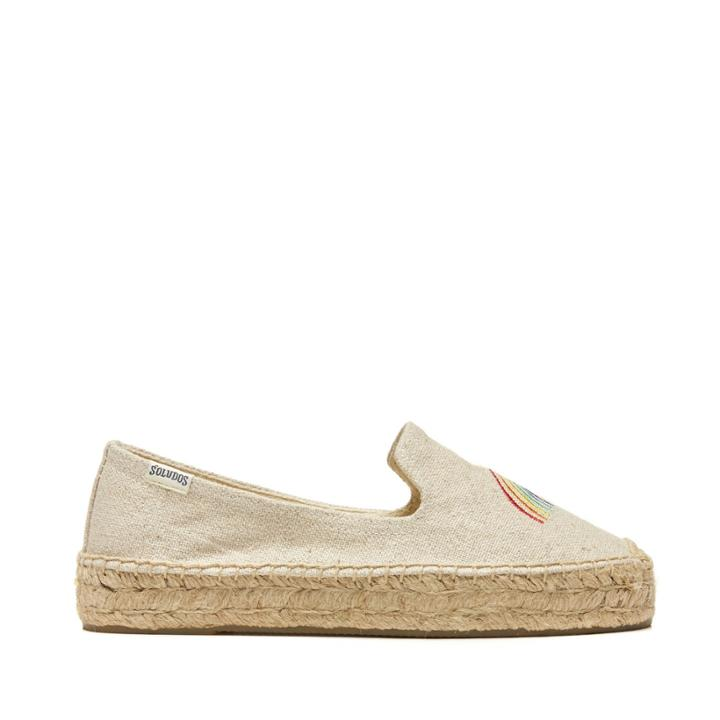 Soludos Soludos Rainbow Platform Smoking Slipper Espadrille Smoking Slipper - Sand