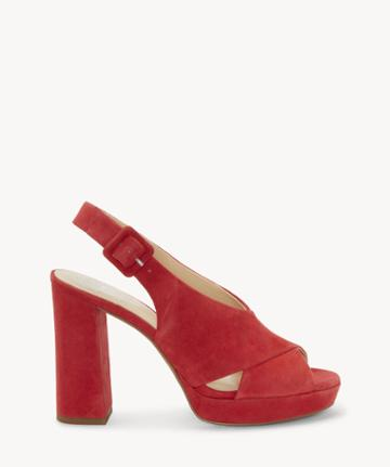 Vince Camuto Vince Camuto Women's Javasan Platform Sandals Glamour Red Size 5 Suede From Sole Society