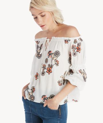 J.o.a. J.o.a. Embroidered Off The Shoulder Top