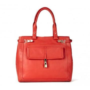 Solesociety Faye Padlock Leather Shopper - Poppy