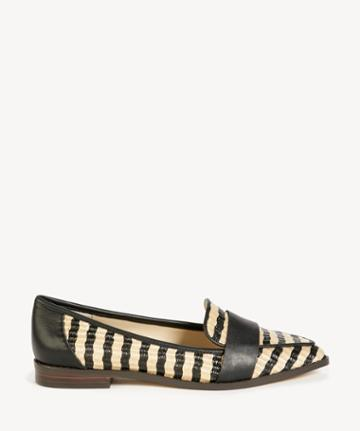 Sole Society Women's Edie Smoking Slippers Flats Natural/black Size 5 Leather Suede From Sole Society