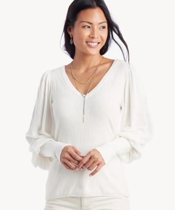 1. State 1. State Women's V Neck Blouson Sleeve Ribbed Sweater In Color: Antique White Size Xs From Sole Society