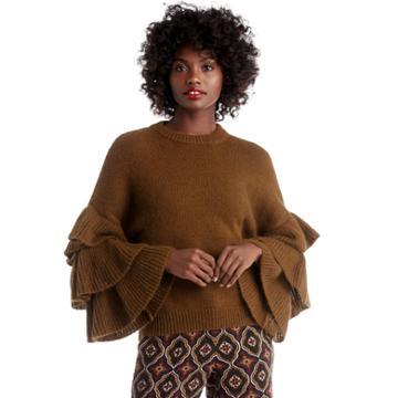 J.o.a. J.o.a. Ruffle Sleeve Sweater - Olive-xs