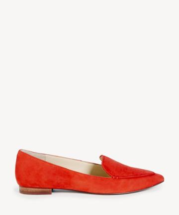 Sole Society Women's Cammila Pointed Toe Smoking Slippers Deep Coral Size 5 Faux Leather Haircalf From Sole Society