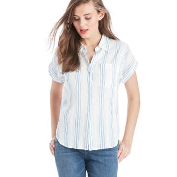 Two By Vince Camuto Two By Vince Camuto Roll Sleeve Stripe Seersucket Shirt - Stormy Blue-xs