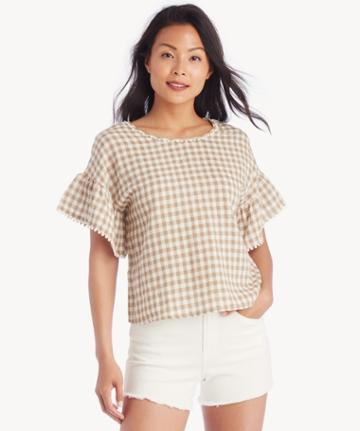 Moon River Moon River Frill Sleeves Top With Back Twist - Tan Gingham-xs
