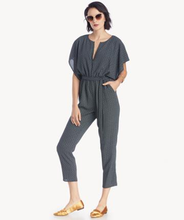 1. State 1. State Women's Flounce Sleeve Dash Track Jumpsuit In Color: Black/jade Size Xs From Sole Society