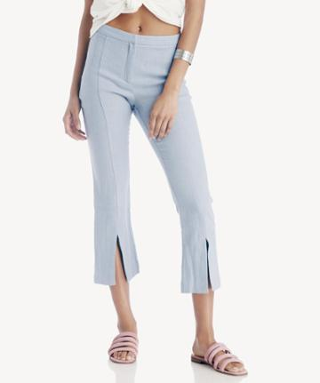 Moon River Moon River Cropped Pant With Slits - Sky-xs