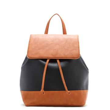 Sole Society Sole Society Kaili Two Tone Backpack - Black Cognac