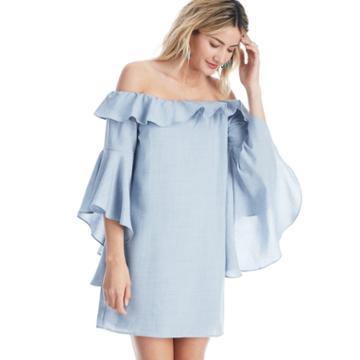 Wayf Wayf Kiera Off Shoulder Ruffle Dress - Chambray-x-small
