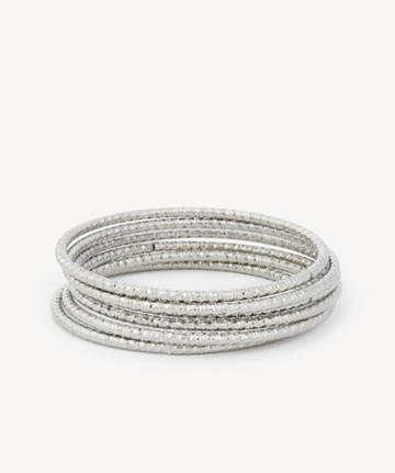 Sole Society Women's Textured Bangle Bracelet Set Silver One Size From Sole Society