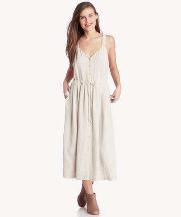 Moon River Moon River Button Up Dress With Tie Waist