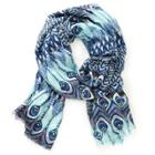 Sole Society Sole Society Peacock Print Scarf - Blue-one Size