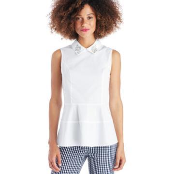 Cece Cece Embellished Collar Peplum Shell Blouse - Ultra White-xs