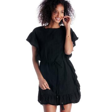 Moon River Moon River Frill Edge Tunic With Waist Tie - Black-xs