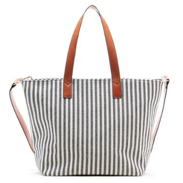 Sole Society Sole Society Linds Medium Fabric Tote - Black/cream-one Size