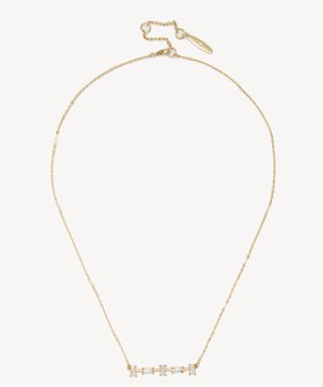 Sole Society Women's 18 Bar Pendant 14k Vintage Gold/crystal Size Onesize From Sole Society